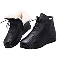 [LSDZW] 裏起毛 ボアブーツ ウィンターブーツ レディース 黒1 レザー調 編み上げブーツ ショートブーツ ぺたんこ ローヒール 防寒 あったか 厚底ブーツ ショート丈 スノーシューズ すべらない 軽い スノーブーツ 23.5cm 全体ボア 保温 綿靴
