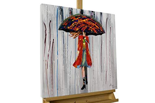 KunstLoft® Acryl Gemälde 'Alice im Regen' 60x60cm | original handgemalte Leinwand Bilder XXL | Mensch Frau Schirm Regen Mantel | Wandbild Acrylbild Moderne Kunst einteilig mit Rahmen