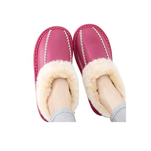 XVXFZEG Hogar cómodo algodón zapatillas, zapatos de vellosidades-forrado interior, exterior antideslizante del tendón de carne de vaca espesada Sole, caliente de cuero de vaca de pelo en otoño e invie