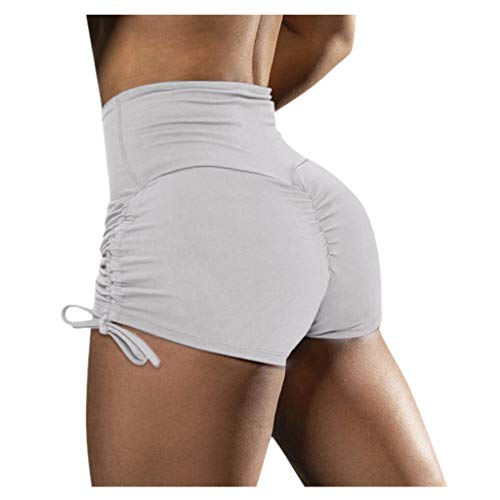 DEATU Womens Running Cycling Gym Workout Sports High Waisted Scrunch Butt Booty Yoga Short Tights Bike Shorts Hot Pants (X-Large,White)