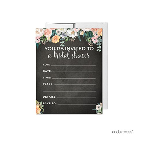 Andaz Press Peach Chalkboard Floral Garden Party Wedding Collection, Blank Bridal Shower Invitations with Envelopes, 20-Pack