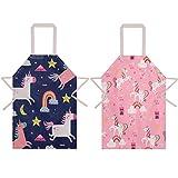 umorismo 2 Packung Mädchen Einhorn verstellbare Schürze Kochschürze Küche Kinderschürzen mit Tasche Wasserdichte Küchenschürze zum Backen, Garten, Restaurant, Grill
