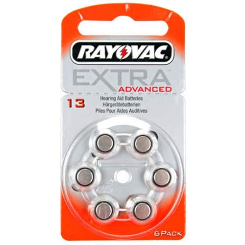 Rayovac extra HA13, PR48, 4606 Piles auditives 6-Pack, 310 mAh