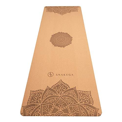 SNAKUGA Cork Yoga Mat-Premium 4MM Natural Cork & Eco-Friendly Rubber-Non Slip Exercise...