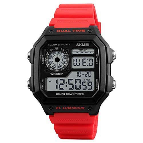 JTTM Reloj Digital, para Hombre, para Actividades Al Aire Libre, Deportivo, Militar, Sumergible, Cronógrafo, Cuenta Atrás, Luces LED, con Alarma, De Goma Negra,Rojo