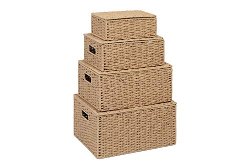 Storage Basket Hamper (Set of 4) – Storage Bin with Lid & Insert Handle for Easy Carrying – Convenient Storage Organizer Box for Clothes, Toys – Including Small, Medium, Large, Extra large - by Arpan (Natural)