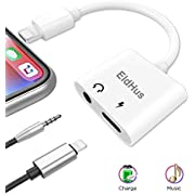 EldHus adapter to 3.5 mm Headphone Jack  Adaptor Charger for  iphone 7 / 8 / X / 7 plus / 8 plus ,Earphone Adapter Headphone Aux Audio & Charge Adaptor,Support iOS 10.3 or later