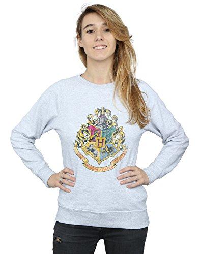 HARRY POTTER Mujer Hogwarts Distressed Crest Camisa De Entrenamiento Medium Cuero Gris