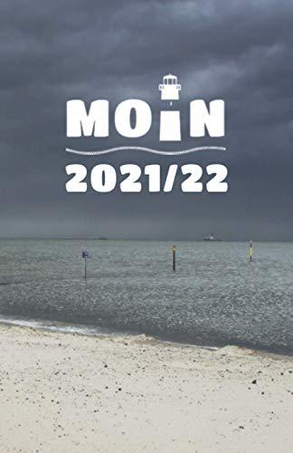 18-Monats-Kalender mit Notizbuch MOIN 2021 - 2022: MOIN! Buchkalender - Woche auf 2 Seiten: Küstentagebuch Moin mit Leuchtturm und Strandkorb Juli 21 bis Dez. 22