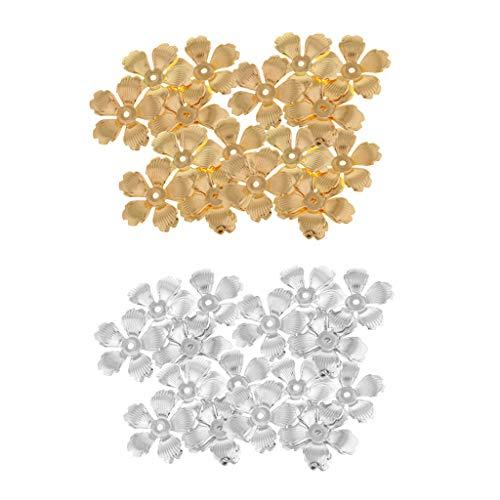 chiwanji 60x Metal Flower Bead Cap Spacers End Caps Collar Pulsera Beading Crafts