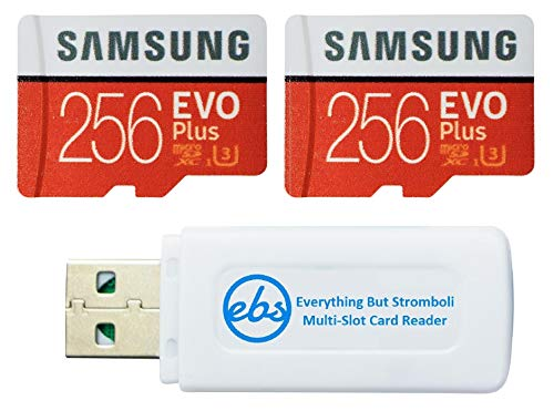 Samsung 256GB Evo Plus MicroSD Card (2 Pack EVO+ Bundle) Class 10 SDXC Memory Card with Adapter (MB-MC256G) with (1) Everything But Stromboli Micro & SD Card Reader