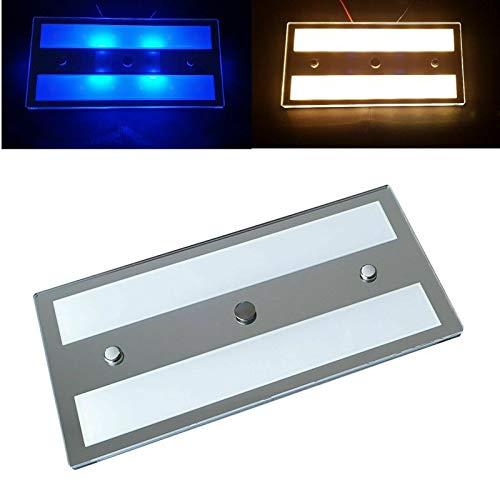 Marvix smalle LED-lamp 12, V 24 V, touch-schakelaar, dimbaar, 6 W, wit, blauw, binnenlamp, plafondlamp voor caravans, campers en bootverlichting