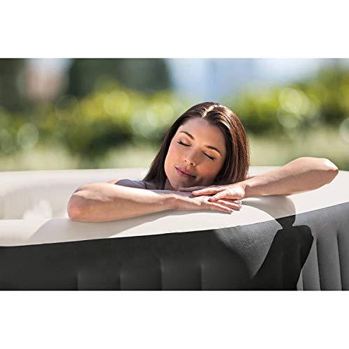 Intex 28417WL PureSpa 6 Person Fiber-Tech Construction Portable Octagonal Inflatable Hot Tub Spa with 140 Bubble Jets, Gray