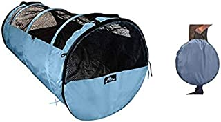 HandinHandCreations Pet Tube Soft Car Crate Large Kennel The Safe Dog and Cat Travel Mobile Home Pet Limo with Seat Belts ...