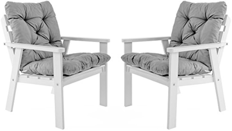 Ambientehome Gartensessel Loungesessel Sessel Gartenstuhl Massivholz inkl. Kissen HANKO, Wei, 2-teiliges Set