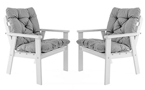 Ambientehome Java Exclusiv Hanko - Juego de Cojines con respaldo para silla, 50% algodón, 50% poliéster, Color Gris, 50 x 98 x 8 cm, 2 unidades
