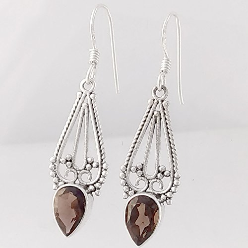 Selling and selling Natural Smoky Earrings Solid 925 Sterling Drop Regular dealer Silver Dangle