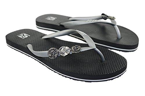 COVY'S jandals Silver/Black #5127 Women (Zehentrenner, Sandale, DIY, Pins)