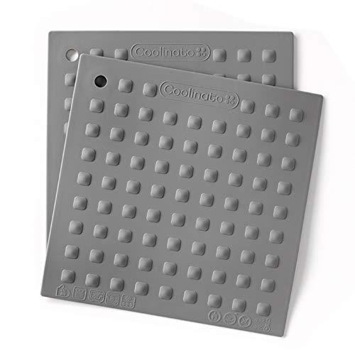 Coolinato Topflappen Silikon 2er Set für Töpfe und Pfannen, Topfuntersetzer hitzebeständig 20x20 cm