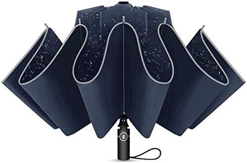Paraguas Plegable con Apertura y Cierre Automático Compacto y Ligero a Prueba de Viento y Agua Anti UV Durable Paraguas de Viaje