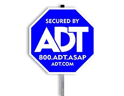 """ADT Security Yard Sign 10""""x10"""" with Aluminum Post 28''."""