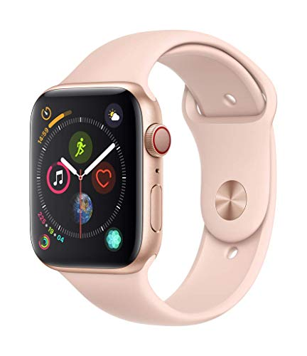 Apple Watch Series 4 (GPS + Cellular) con caja de 44 mm de aluminio en oro y correa deportiva rosa arena