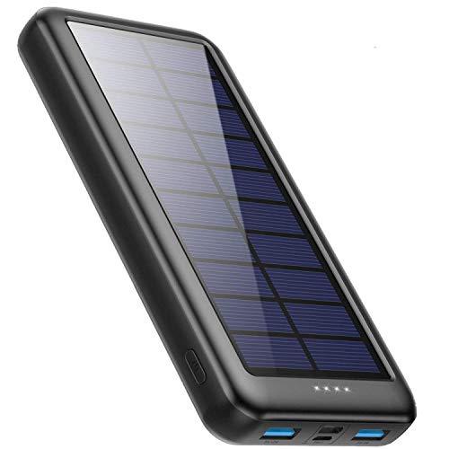 iPosible Powerbank Solare 26800mAh con USB C,【L'ultima S4】Caricabatterie Solare Portatile Caricatore Solare Batteria Esterna 3 ingressi e 2 uscite Ricarica Rapida per Cellulare iPad Tablets, Campeggio