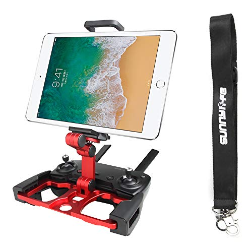 Anbee Foldable Aluminum Tablet Stand Smart Phone Holder Bracket with Lanyard Compatible with DJI Mavic 2 / Mavic Mini 2 / Mini / Pro /Mavic Air/Spark Drone Remote Controller (Red)