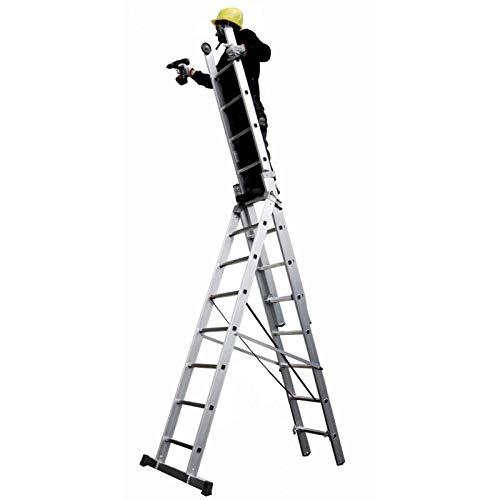 Koelkast, multifunctionele ladder, 3 lagen, van aluminium, stabilisator, treden 9 10 + 10, stammen 3, draagkracht 150 kg, lengte uitgeschoven 6,96 m, SCA 3047Z/10