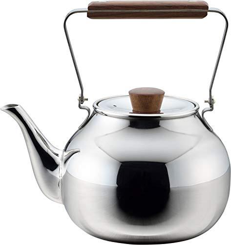Chaki Teekanne aus Edelstahl im Retro-Design mit Sieb, 700 ml. Made in Japan