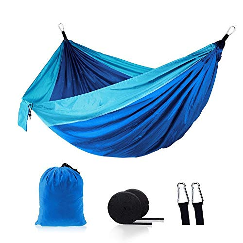 N/A Outdoor hammock TW Color portable outdoor camping parachute nylon fabric hammock sleeping travel hiking bed (Color : Dark Blue)