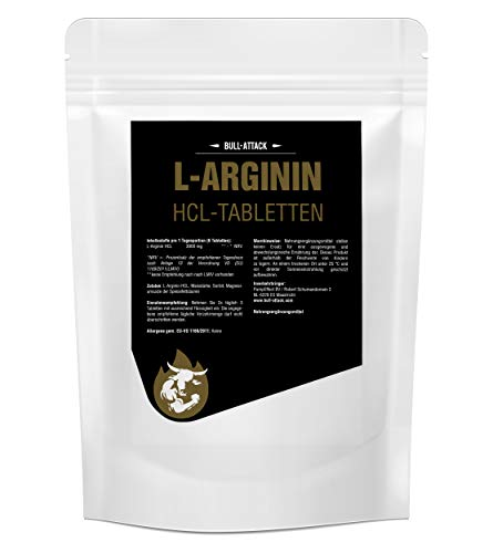 L-ARGININ TABLETTEN von Bull Attack | 500 Tabletten 3000 mg Portion | Großpackung XL | Semi-essentielle Aminosäure | Zum Muskelaufbau Pre-Workout & zur Verbesserung der Durchblutung | Zum fairen Preis (500)