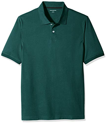 Amazon Essentials Regular-Fit Cotton Pique Polo Shirt, Verde (Hunter Green), Large