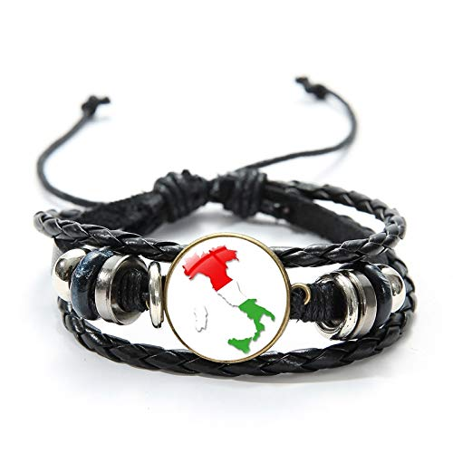 National Flag Charm Leather Bracelet Belgium South Africa Germany Hungary Czech Republic Glass Convex Jewelry Wristbands
