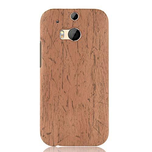 LMFULM® Hülle für HTC One M8 / One M8S (5,5 Zoll) Holz Außerhalb Harter PC Stoßfänger Silikon Hülle Dünner Handyhülle Dünne Rückseitige Abdeckung für HTC One M8 / One M8S Braun