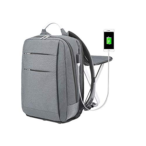 3 in 1Waterproof Charging Backpack Seat Combo for Camping Fishing Hiking Traveling Resting Picnics Sports Events Etc. Leightweight Large Capacity Portable Foldable (Gray)
