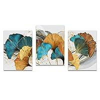 """キャンバス絵画北欧イエローゴールド植物の葉抽象的なポスターは、リビングルームの家の装飾のための壁の芸術の絵を印刷します-60x80cm / 23.6""""x31.5"""" X3 フレームなし"""