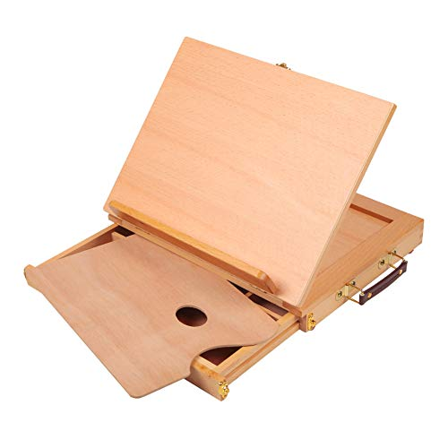 Falling in Art Adjustable Solid Wood Table Sketch Box Easel with Storage Drawer