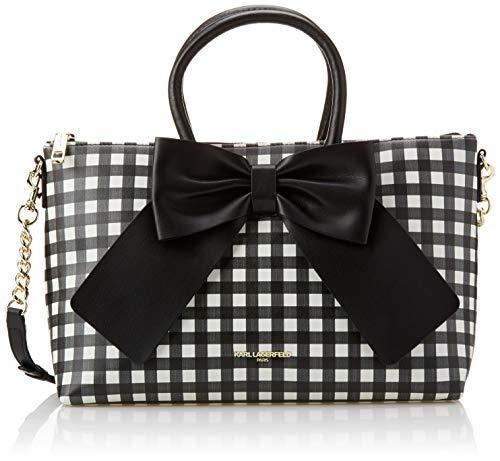 Karl Lagerfeld Paris womens Kris Large Bow Satchel Bag, Black/White Gingham, One Size US