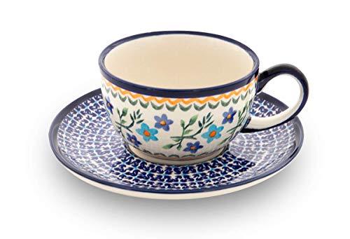 Original Bunzlauer Keramik - klassische Kaffee und Tee Tasse mit Untertasse 0.21 Liter im Dekor 1154a