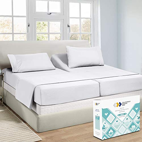 800 Thread Count Sateen Sheets - 100% Pure Cotton Hotel Luxury Range, Soft and Crisp, Deep Pocket with Elasticized Deep Pocket for Snug Fit (5 Piece, Split King, Bright White)