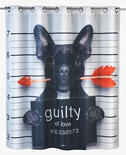WENKO Anti-Schimmel Duschvorhang Guilty Dog Flex - Anti-Bakteriell, wasserabweisend, Textil, waschbar, schimmelresistent mit integrierter Hängeeinrichtung, Polyester, 180 x 200 cm, Mehrfarbig