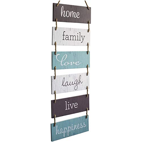Excello Global Products Large Hanging Wall Sign: Rustic Wooden Decor (Home, Family, Love, Laugh, Live, Happiness) Hanging Wood Wall Decoration (11.75' x 32')