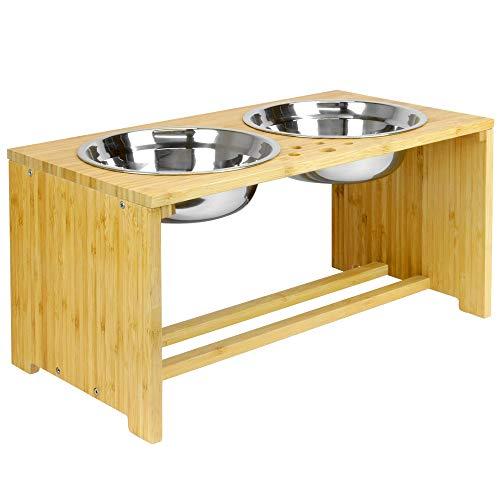 Maison & White Bols doubles pour animaux de compagnie   Chien / Chat Bols en Métal 2 en 1 pour Nourriture et Eau   Mangeoire sur pied (Grand)