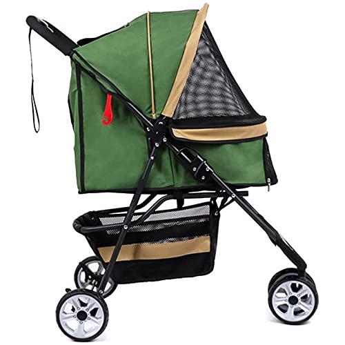 Hochwertiger robuster Haustier-Buggy für kleine und mittelgroße Hunde und Katzen, 4-Rad-Katzenwagen, faltbarer Hundebuggy, einhändig zusammenklappbar