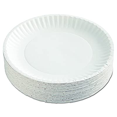 "AJM Packaging Corporation PP9GRAWH Paper Plates, 9"" Diameter, White, 12 Packs of 100 (Case of 1200)"