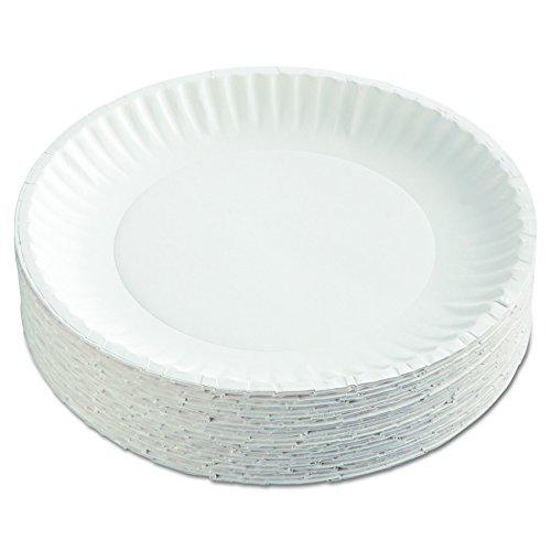 AJM Packaging Corporation PP9GRAWH Paper Plates, 9' Diameter, White,...