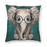 YHKC Music Elephant.Webp Funda de almohada decorativa para el hogar, ligera, suave, de felpa, cuadrada, decorativa, funda de almohada, funda de cojín de 18 x 18 pulgadas, embutidora, lavable a máquina