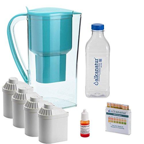 Pack Alkanatur para alcalinizar, depurar e ionizar agua. pH hasta 9,5. ORP - 700mV. Libre de Bisphenol A. Duración filtros 1600 L.