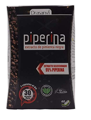 Drasanvi Piperina Forte 60 capsule, formulato con estratto di pepe nero al 95{2ef9bd7f778e31968e9451b648c528cd61b657c8701c9df66c33f19e31de6bfe}. Pillole che aiutano a dimagrire velocemente Prodotti con effetti brucia grassi potenti (termogenico). brucia grassi.